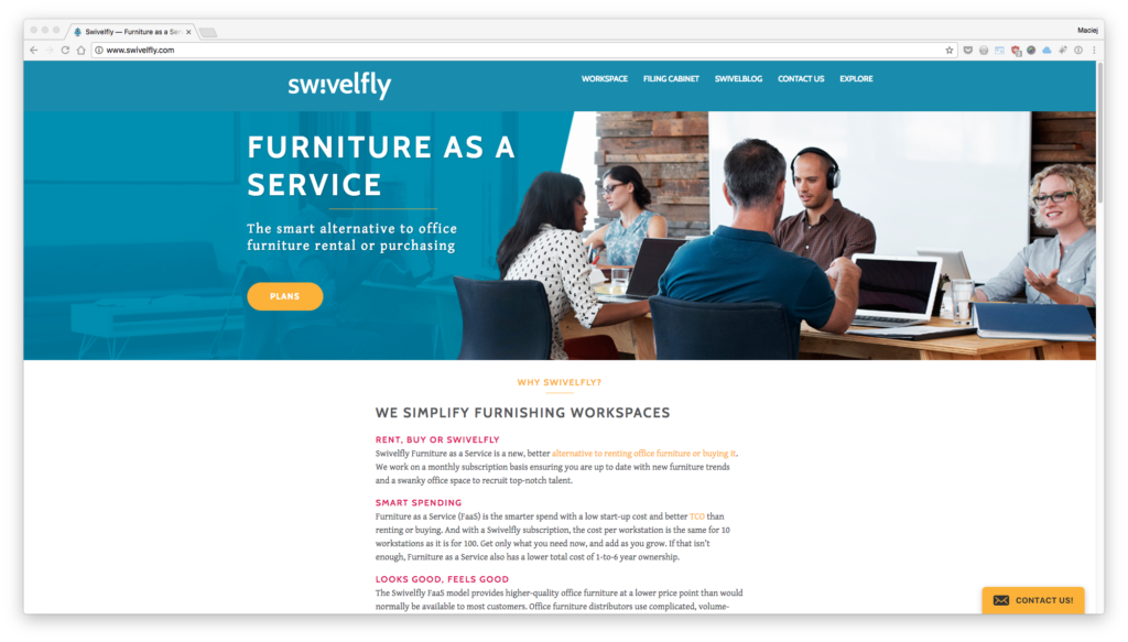Swivelfly —furniture as aservice