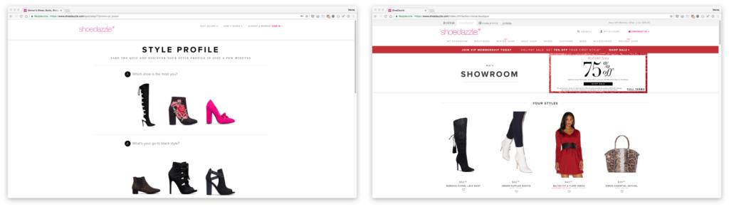 Shoedazzle —konfigurator przy rejestracji ispersonalizowany showroom